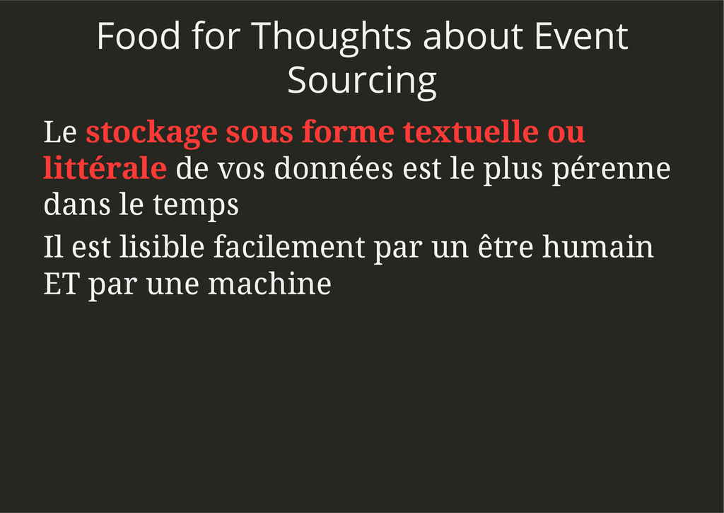 Food for Thoughts about Event Sourcing Le stock...