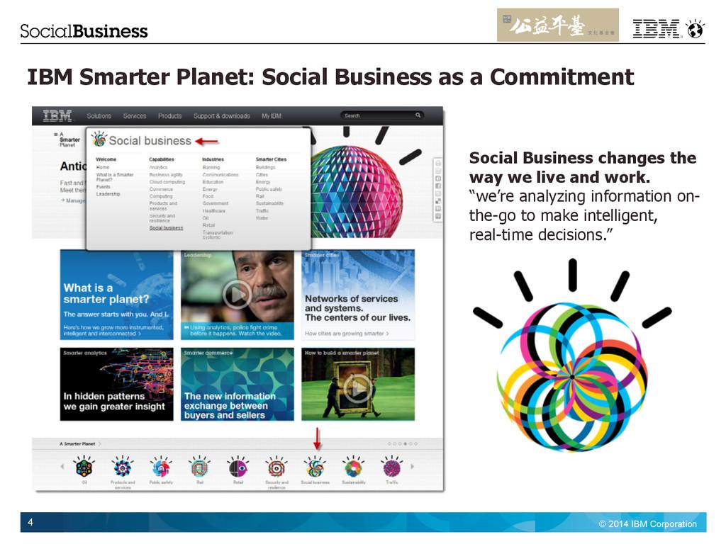 © 2014 IBM Corporation 4 IBM Smarter Planet: So...