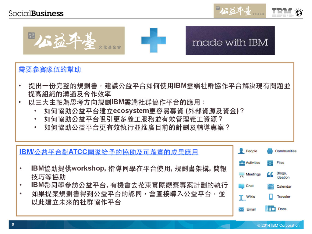 © 2014 IBM Corporation 8 需要參賽隊伍的幫助 • 提出⼀一份完整的規...