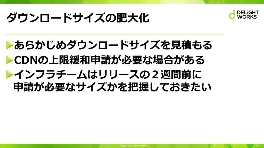 Copyright 2019 DELiGHTWORKS. ダウンロードサイズの肥⼤化 57 あ...
