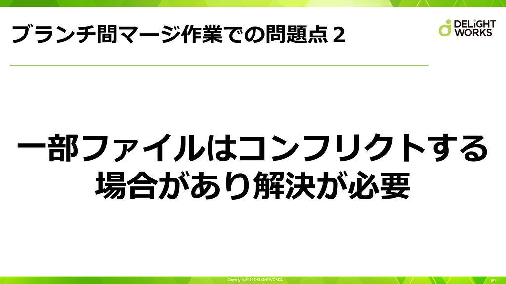 Copyright 2019 DELiGHTWORKS. ブランチ間マージ作業での問題点2 6...