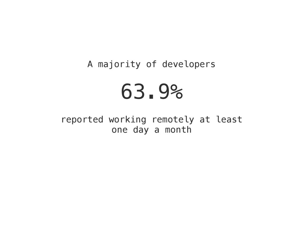 A majority of developers 63.9% reported working...