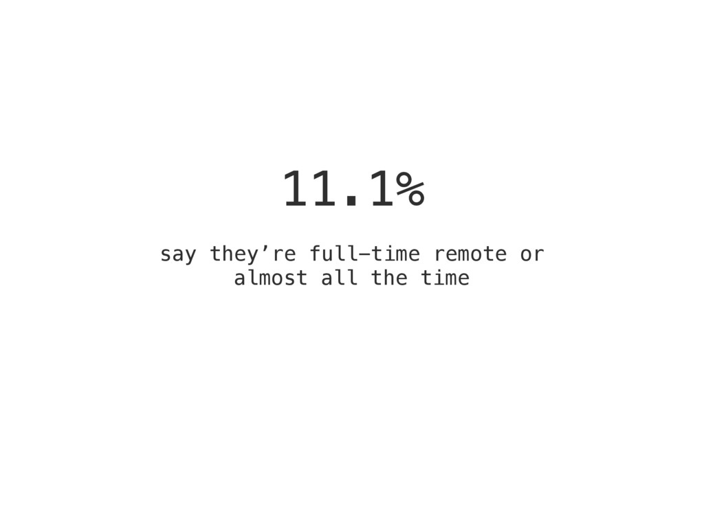 11.1% say they're full-time remote or almost al...