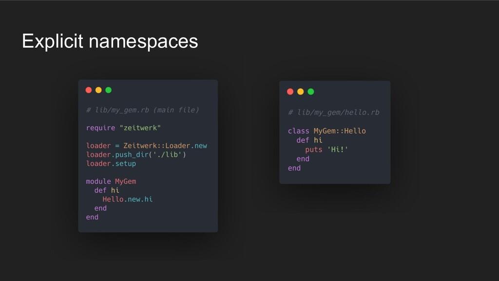 Explicit namespaces