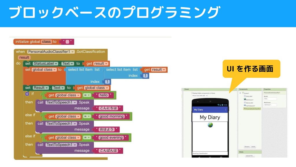 ブロックベースのプログラミング UI を作る画面