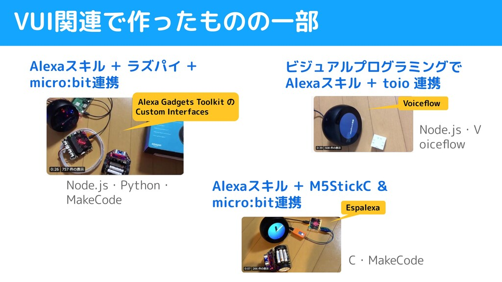 VUI関連で作ったものの一部 ビジュアルプログラミングで Alexaスキル + toio 連携...