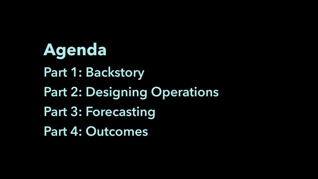 Agenda Part 1: Backstory Part 2: Designing Oper...