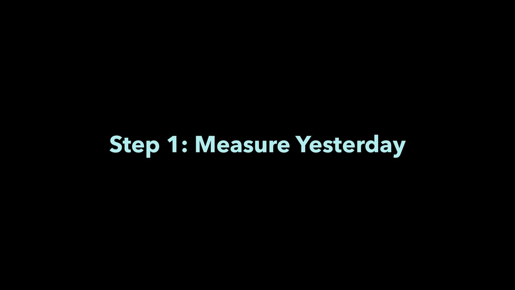 Step 1: Measure Yesterday