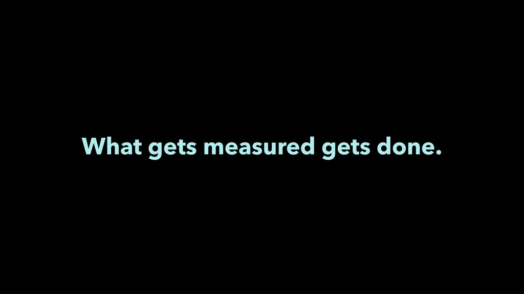 What gets measured gets done.