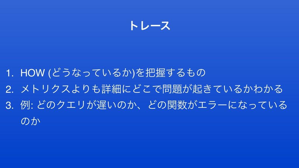 τϨʔε 1. HOW (Ͳ͏ͳ͍ͬͯΔ͔)ΛѲ͢Δͷ 2. ϝτϦΫεΑΓৄࡉʹͲ͜Ͱ...