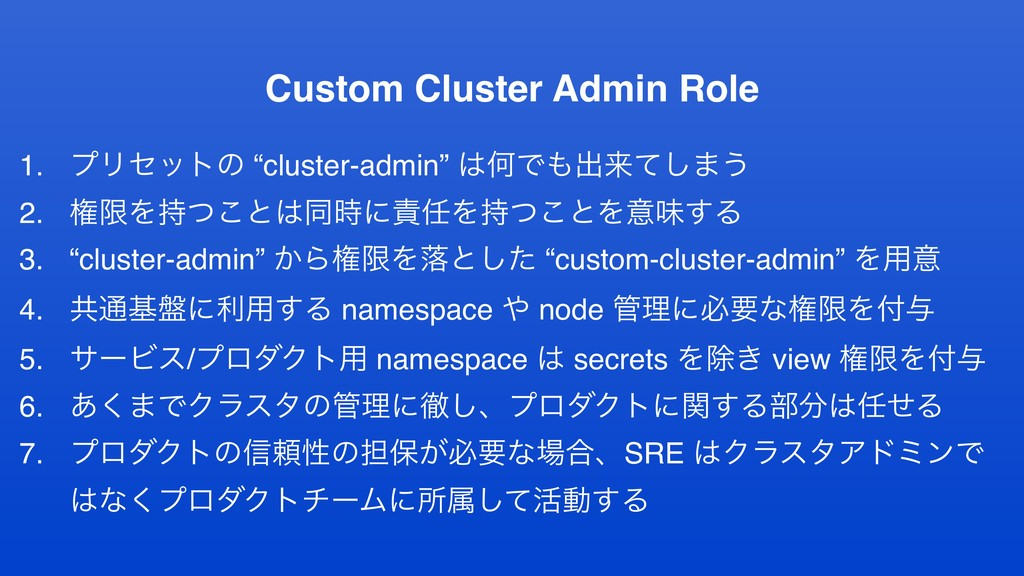 "Custom Cluster Admin Role 1. ϓϦηοτͷ ""cluster-ad..."