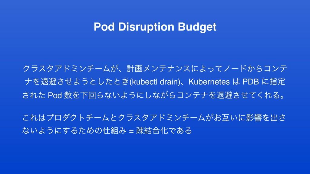 Pod Disruption Budget ΫϥελΞυϛϯνʔϜ͕ɺܭըϝϯςφϯεʹΑͬͯ...