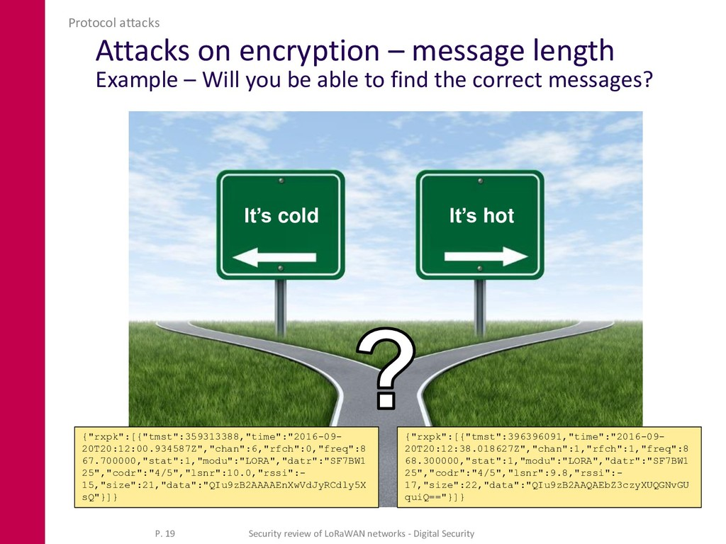 Attacks on encryption – message length Example ...