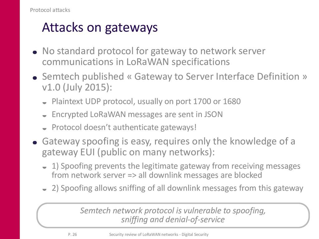 Attacks on gateways No standard protocol for ga...