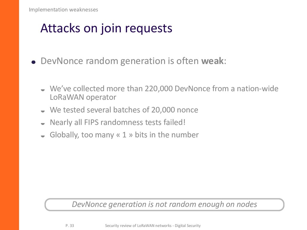 Attacks on join requests DevNonce random genera...