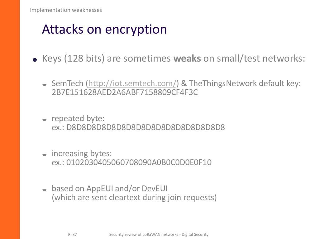 Attacks on encryption Keys (128 bits) are somet...