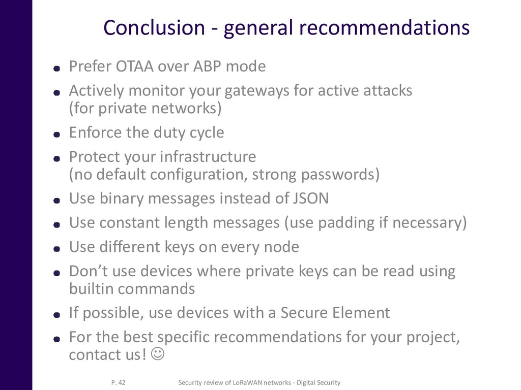 Conclusion - general recommendations Prefer OTA...