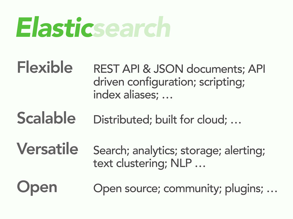 Elasticsearch Flexible REST API & JSON document...