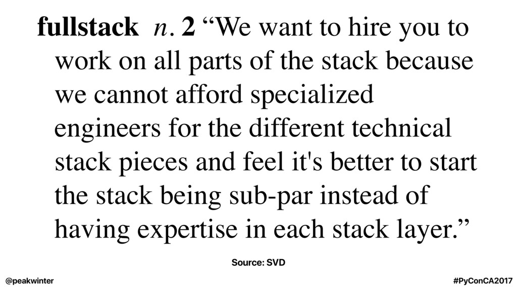"fullstack n. 2 ""We want to hire you to work on ..."