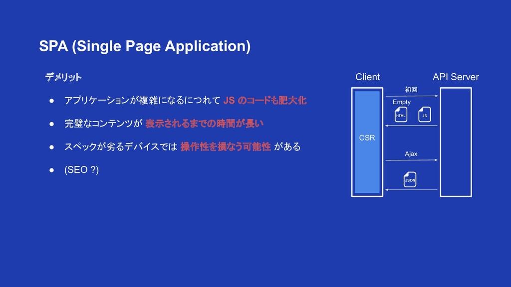 デメリット ● アプリケーションが複雑になるにつれて JS のコードも肥大化 ● 完璧なコンテ...