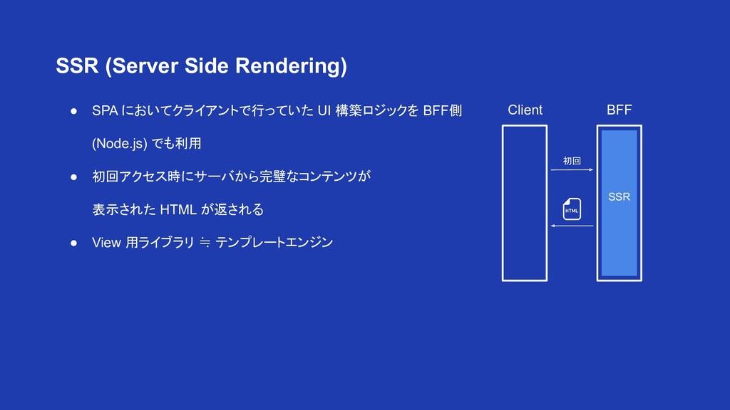 ● SPA においてクライアントで行っていた UI 構築ロジックを BFF側 (Node.js...