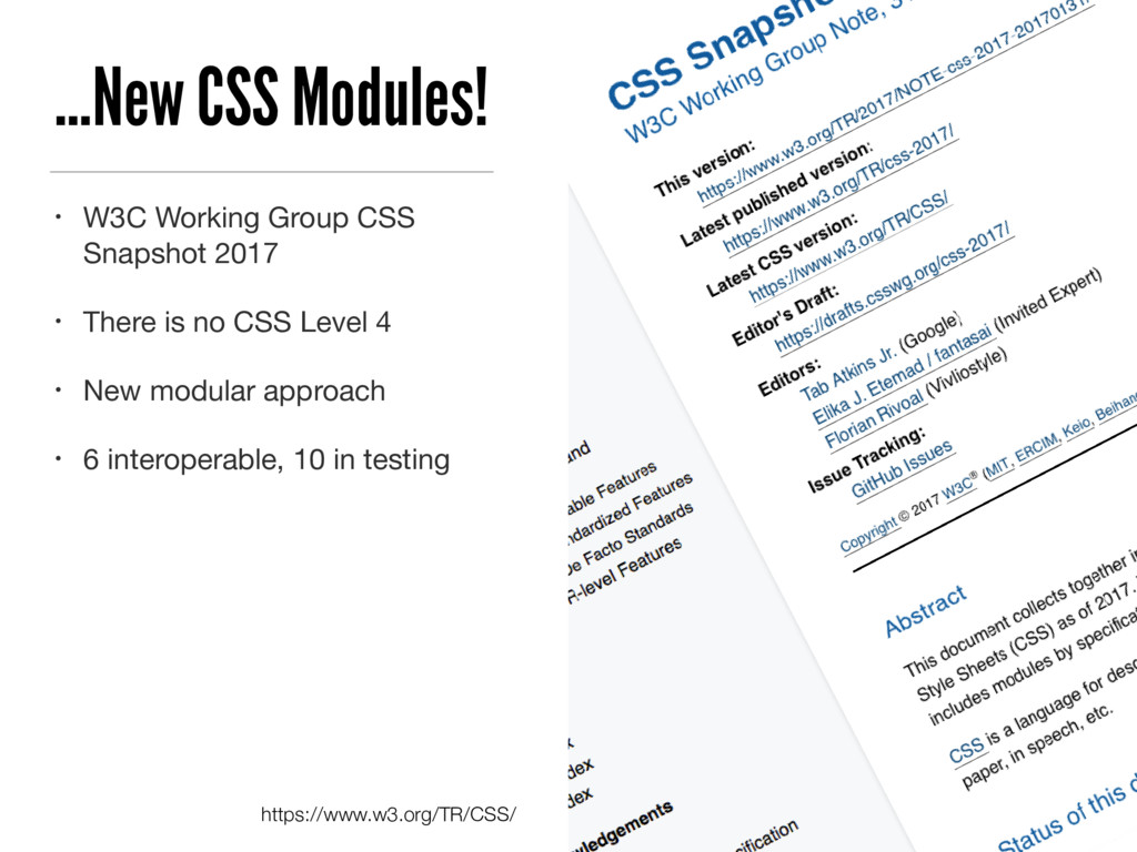…New CSS Modules! • W3C Working Group CSS Snaps...