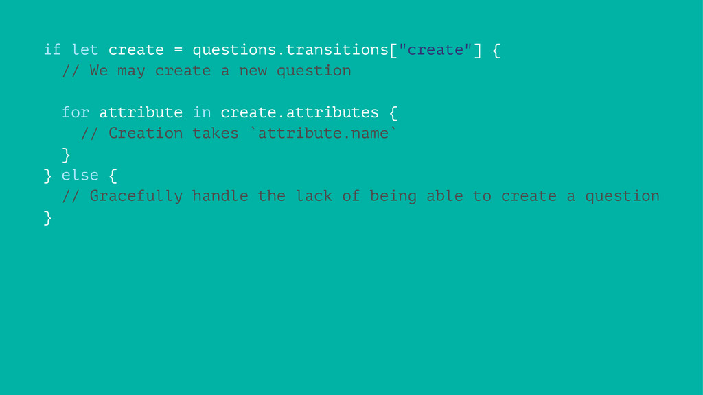 "if let create = questions.transitions[""create""]..."