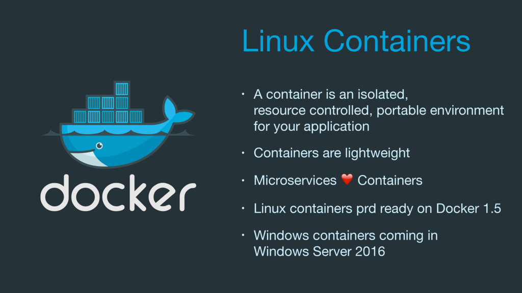 Linux Containers • A container is an isolated, ...