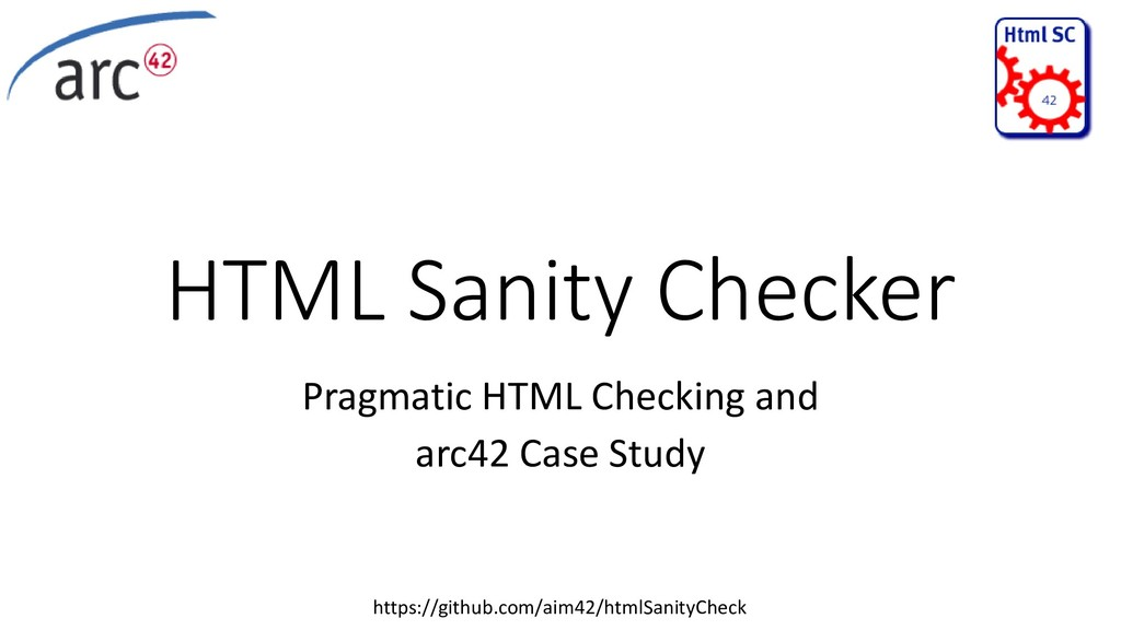 HTML Sanity Checker Pragmatic HTML Checking and...