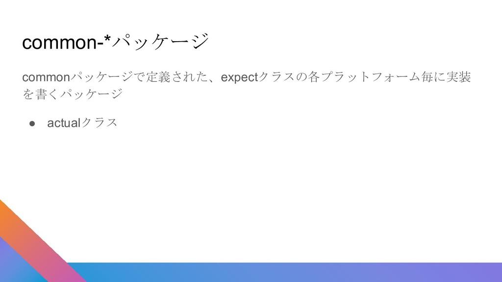 commonパッケージで定義された、expectクラスの各プラットフォーム毎に実装 を書くパッ...