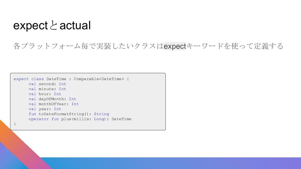 expectとactual 各プラットフォーム毎で実装したいクラスはexpectキーワードを使...