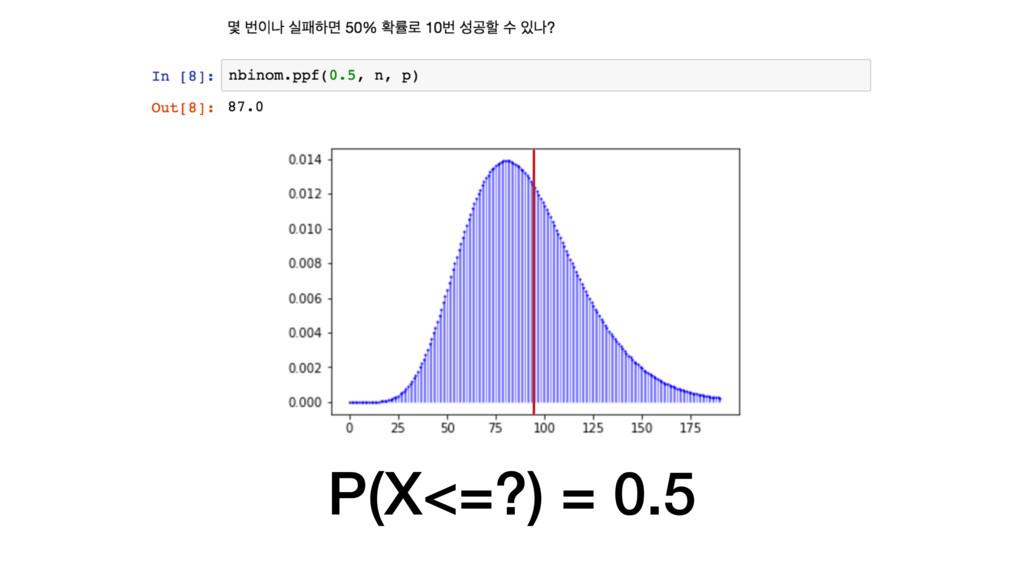 P(X<=?) = 0.5