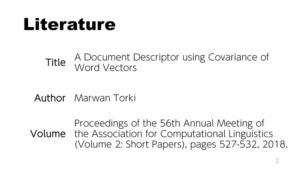Literature 2 Title A Document Descriptor using ...