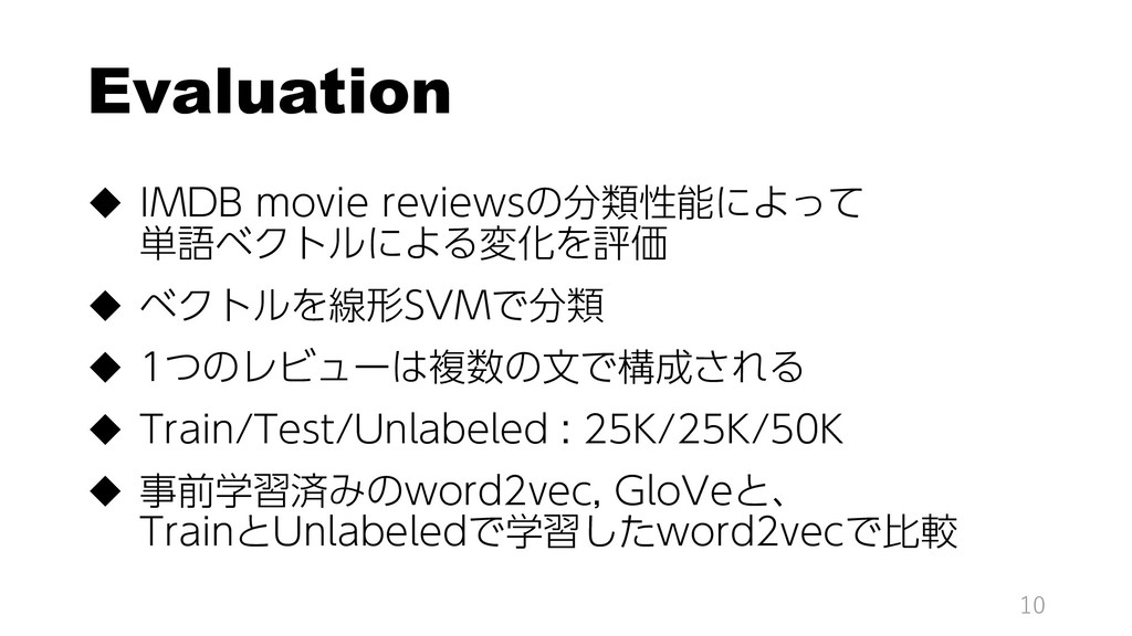 Evaluation  IMDB movie reviewsの分類性能によって 単語ベクトル...
