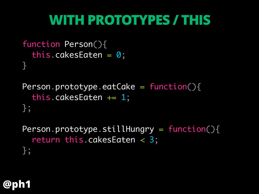 function Person(){ this.cakesEaten = 0; } ! Per...
