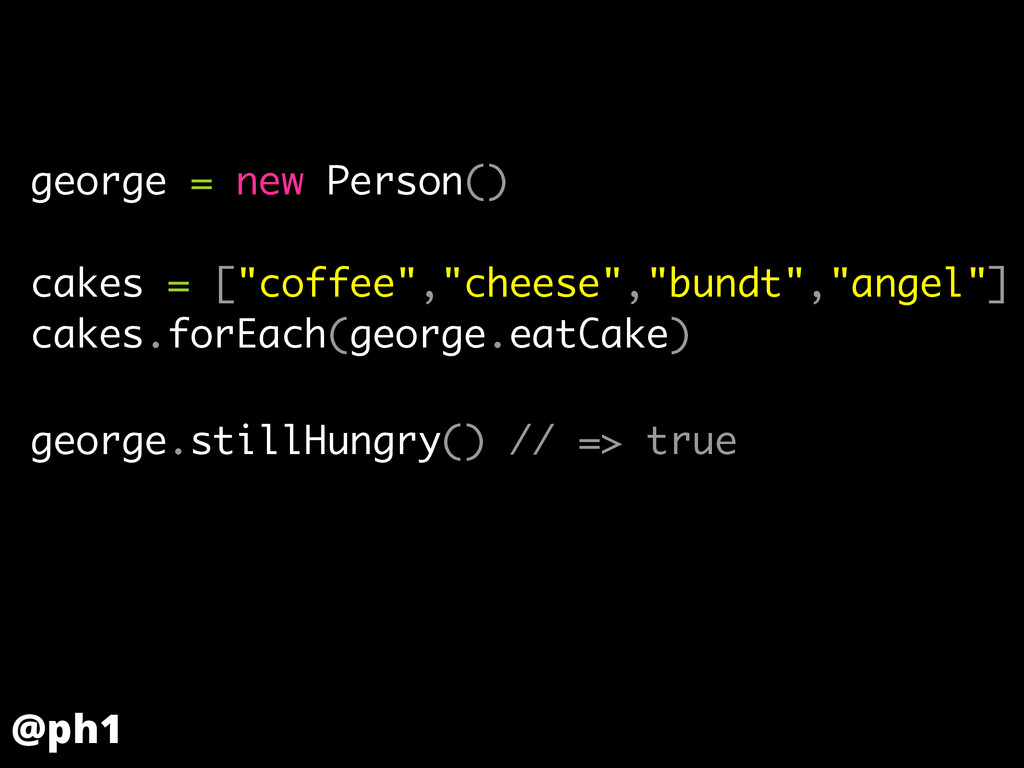 "george = new Person() ! cakes = [""coffee"",""chee..."