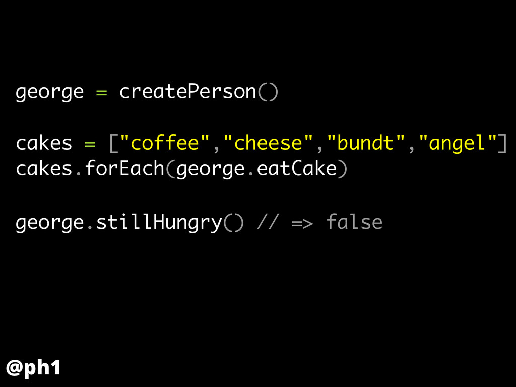 "george = createPerson() ! cakes = [""coffee"",""ch..."