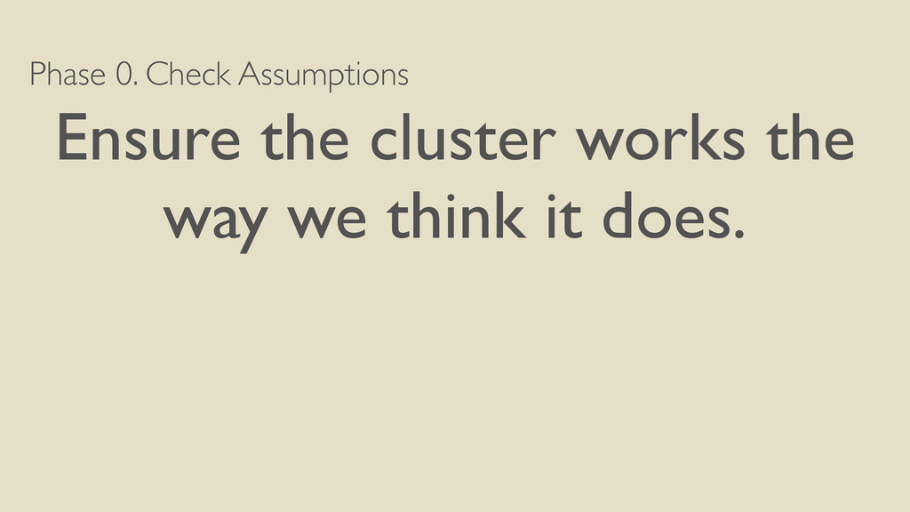 Phase 0. Check Assumptions Ensure the cluster w...