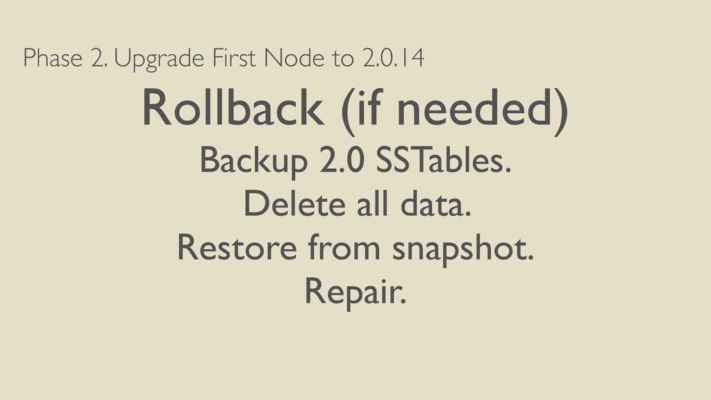 Phase 2. Upgrade First Node to 2.0.14 Rollback ...