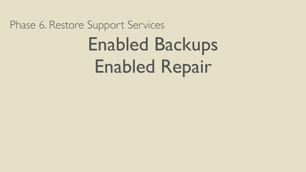 Phase 6. Restore Support Services Enabled Backu...
