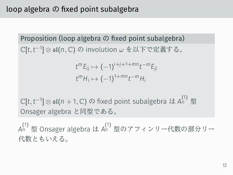 loop algebra の fixed point subalgebra Propositi...