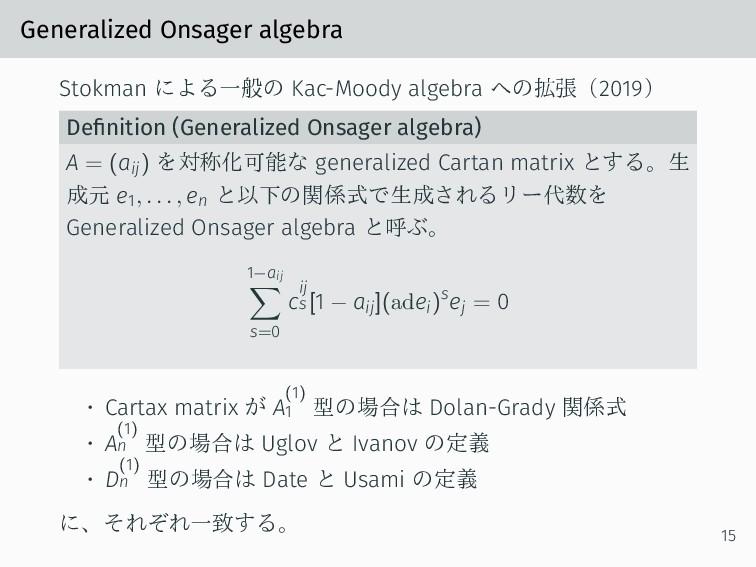 Generalized Onsager algebra Stokman による一般の Kac-...