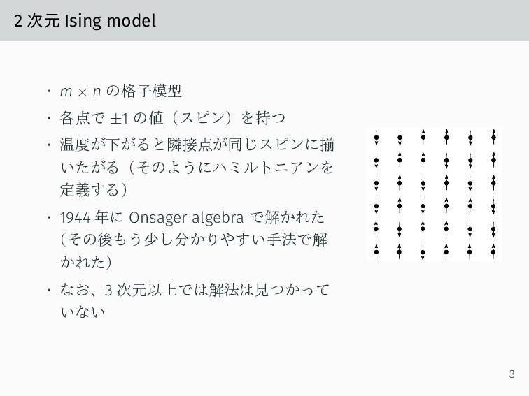 2 次元 Ising model • m × n の格子模型 • 各点で ±1 の値(スピン)...