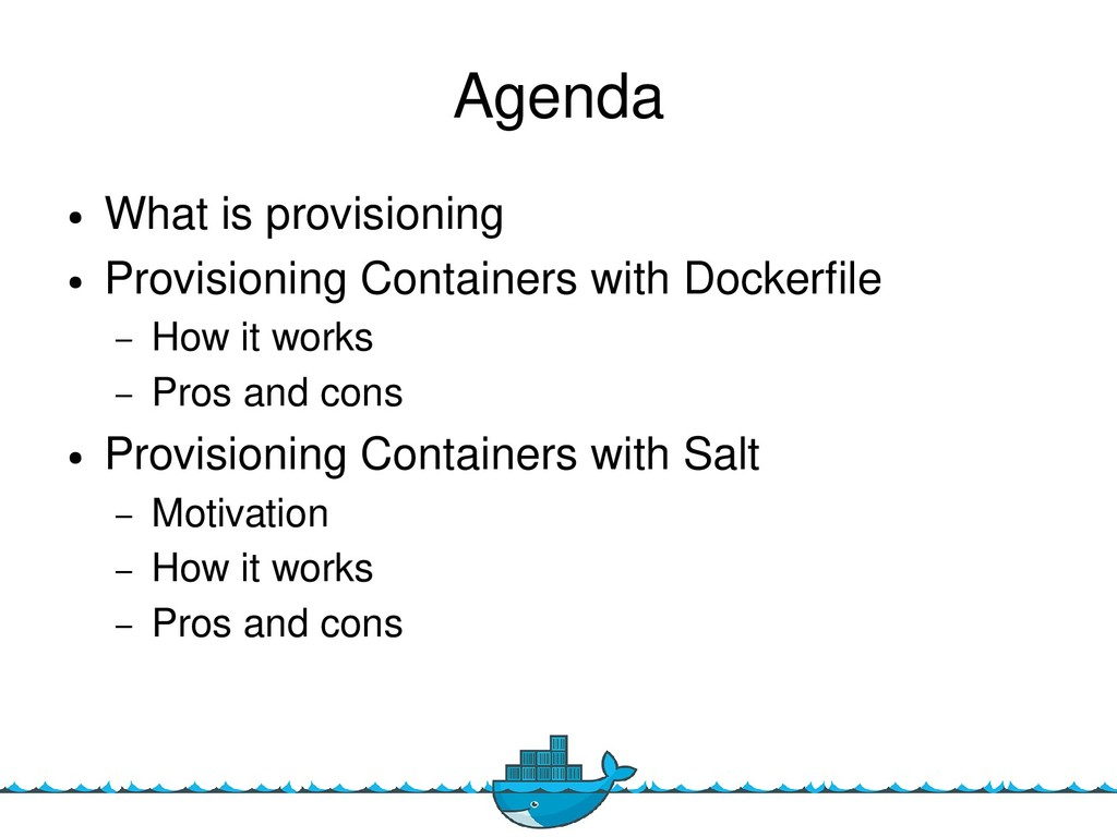 2 Agenda ● What is provisioning ● Provisioning ...