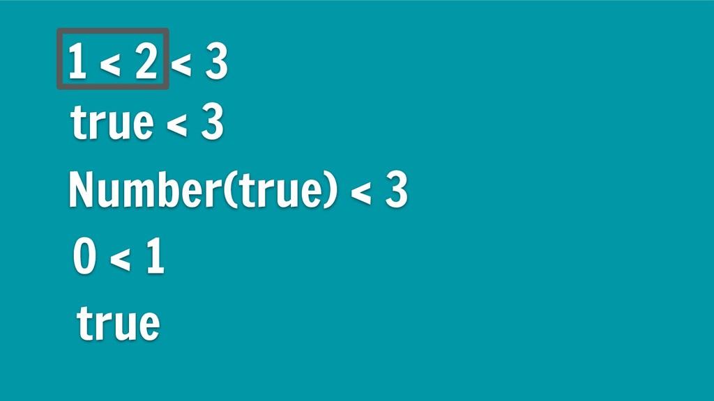 1 < 2 < 3 true < 3 Number(true) < 3 0 < 1 true