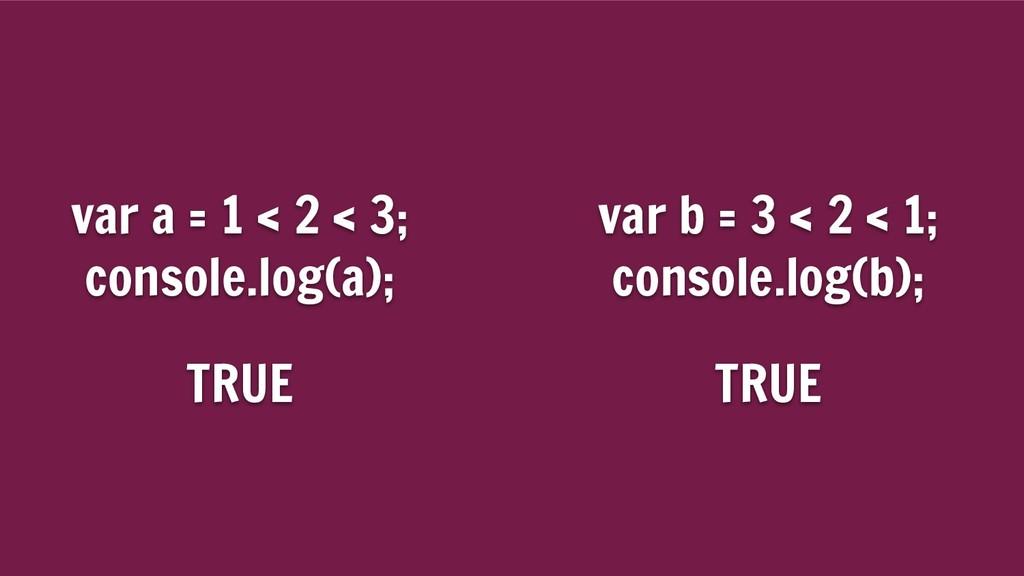 var a = 1 < 2 < 3; console.log(a); var b = 3 < ...