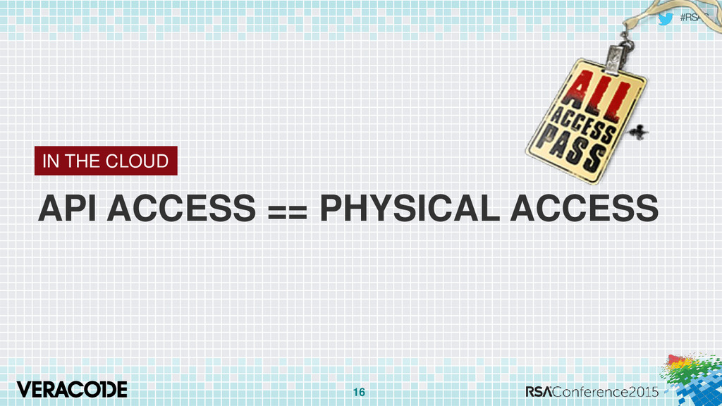 #RSAC API ACCESS == PHYSICAL ACCESS 16 IN THE C...