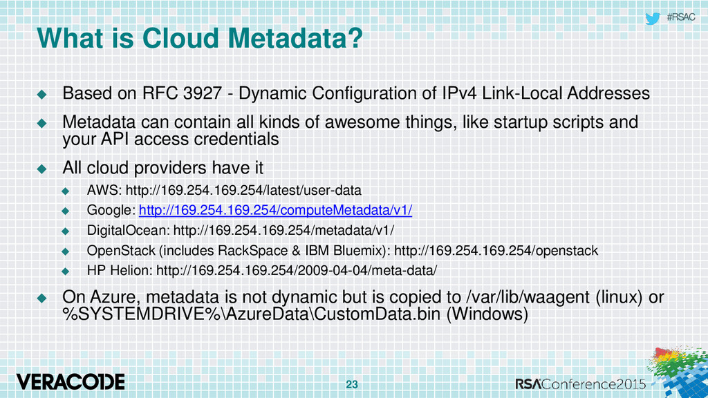 #RSAC What is Cloud Metadata?  Based on RFC 39...