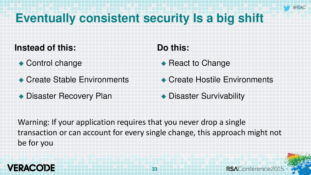 #RSAC Eventually consistent security Is a big s...