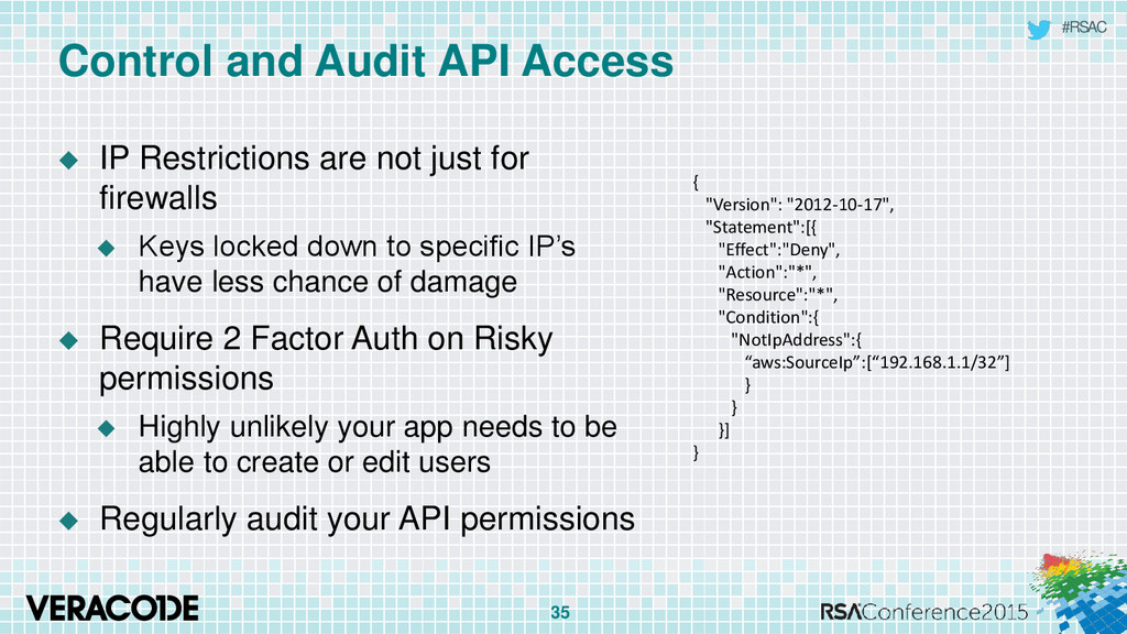 #RSAC Control and Audit API Access  IP Restric...